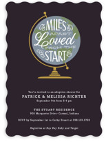 This is a purple baby shower invitation by Sarah Brown called Miles Apart with standard printing on signature in standard.