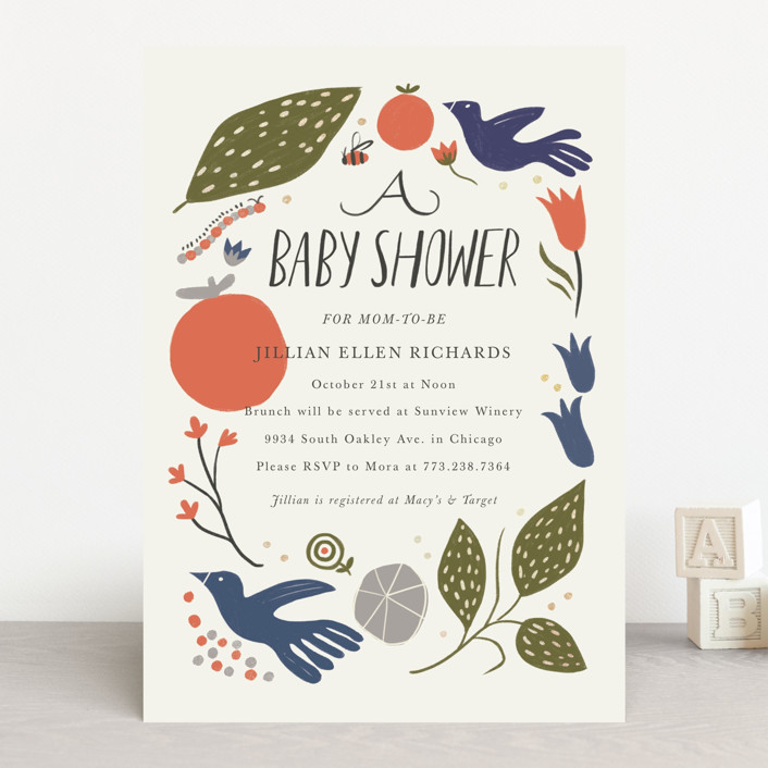 """""""Birds and the Bee"""" - Baby Shower Invitations in Autumn by Morgan Ramberg."""