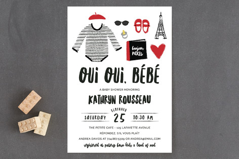 Oui Oui, Bebe Baby Shower Invitations