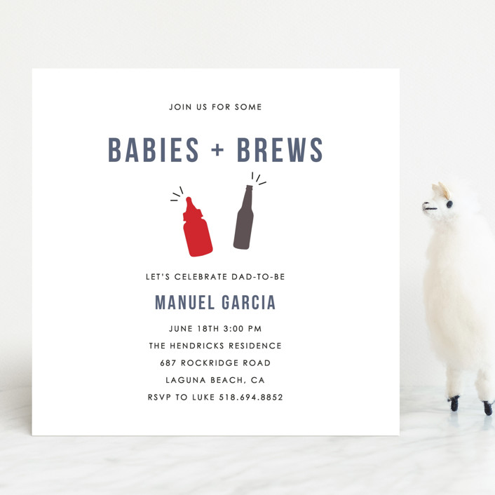 """""""Babies and Brews"""" - Baby Shower Invitations in Peony by Amanda Sager."""