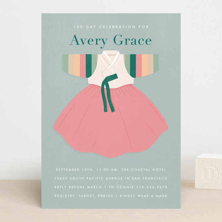 """""""Baby Girl Hanbok"""" - Whimsical & Funny Baby Shower Invitations in Forest by Becky Nimoy."""