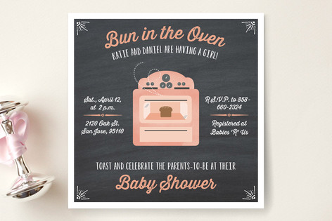 Bun in the Oven Baby Shower Invitations