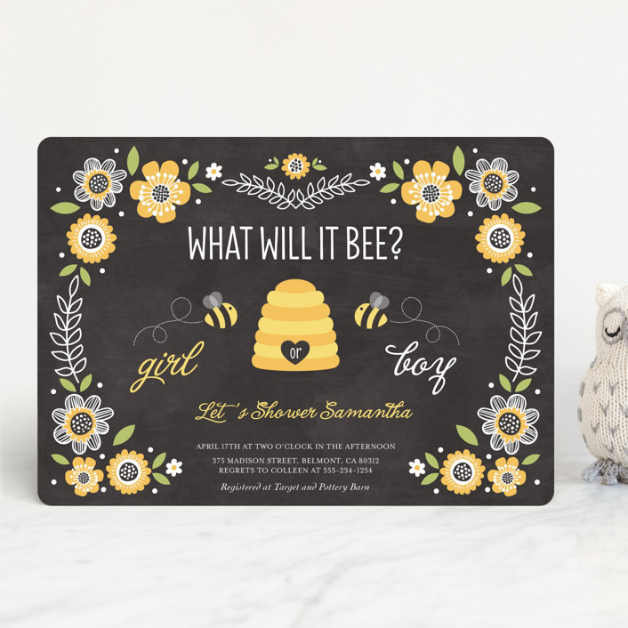"""""""Floral Bee"""" - Floral & Botanical, Vintage Baby Shower Invitations in Chalkboard by Chasity Smith."""