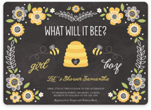 This is a grey baby shower invitation by Chasity Smith called Floral Bee with standard printing on signature in standard.