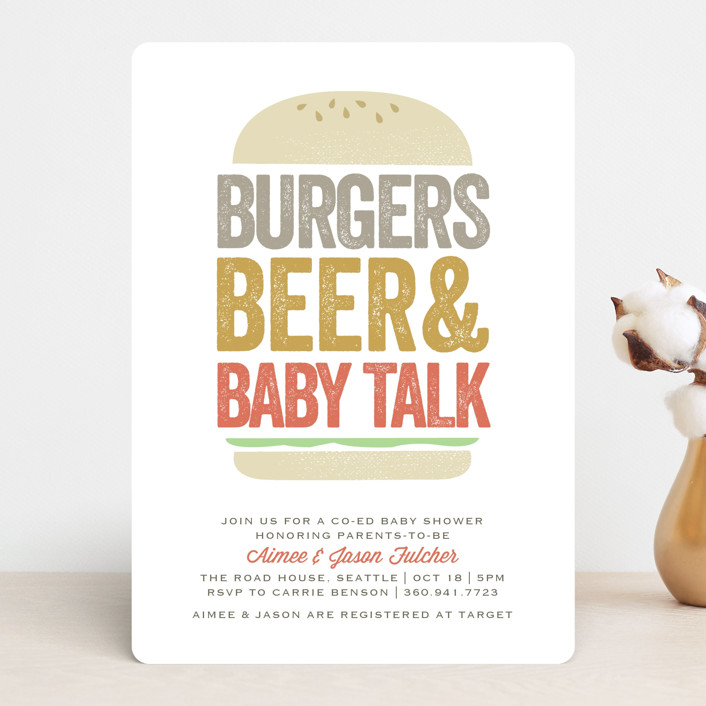 """""""Big Burger"""" - Funny, Bold typographic Baby Shower Invitations in Tomato by Karidy Walker."""