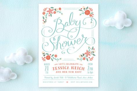 Vintage Garden Baby Shower Invitations