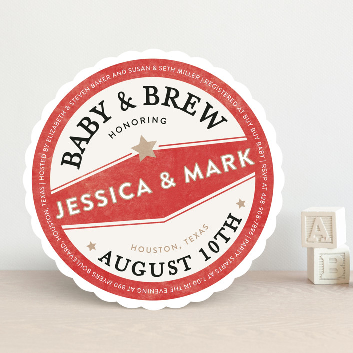 """""""Vintage Coaster"""" - Modern, Funny Baby Shower Invitations in Crimson by Fig and Cotton."""
