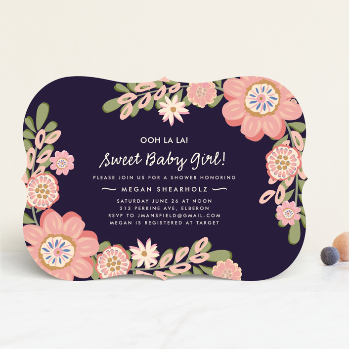 """""""Sweet Baby Girl"""" - Floral & Botanical Baby Shower Invitations in Navy by Chris Griffith."""