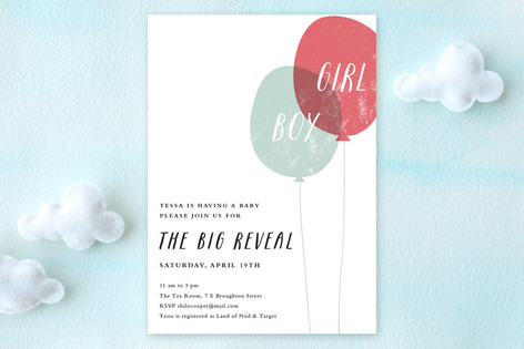 Balloon Reveal Baby Shower Invitations