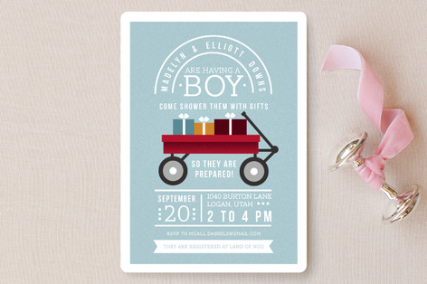 Little Red Wagon Baby Shower Invitations