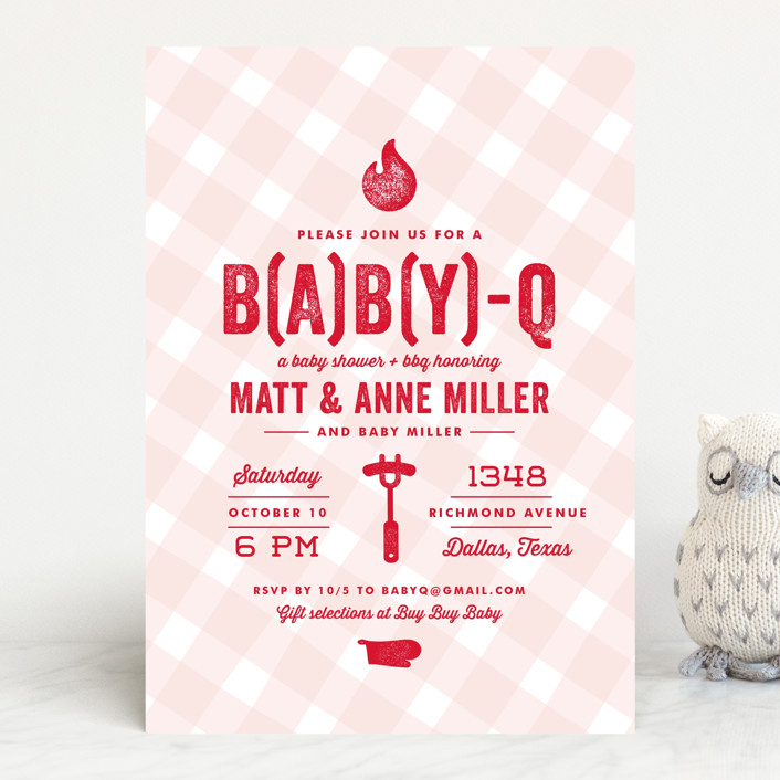 """""""B(A)B(Y)Q"""" - Modern Baby Shower Invitations in Sky Blue by Lauren Chism."""