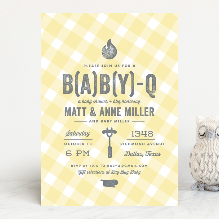 """B(A)B(Y)Q"" - Modern Baby Shower Invitations in Sky Blue by Lauren Chism."