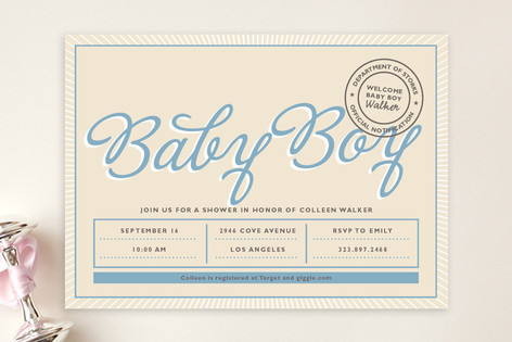 Certified Baby Shower Invitations