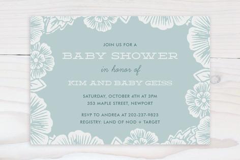 Handcut Florals Baby Shower Invitations