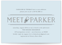 This is a blue baby shower invitation by Bourne Paper Co. called Meet + Greet with standard printing on signature in standard.