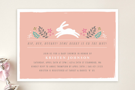 bunny in the forest baby shower invitations by kar  minted, Baby shower invitations