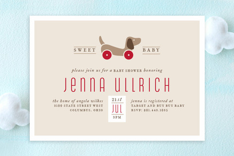Toy pup baby shower invitations by cheer up press minted toy pup baby shower invitations filmwisefo