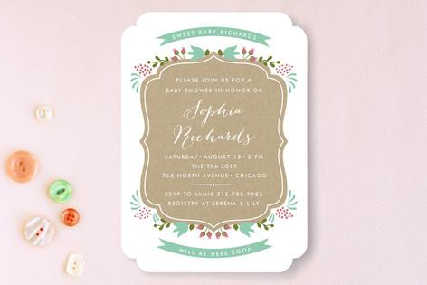 Kraft Floral Frame Baby Shower Invitations