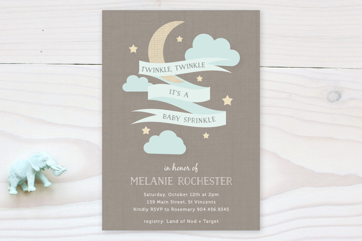 """""""Twinkle Sprinkle"""" - Whimsical & Funny Baby Shower Invitations in Teal by Bonjour Berry."""