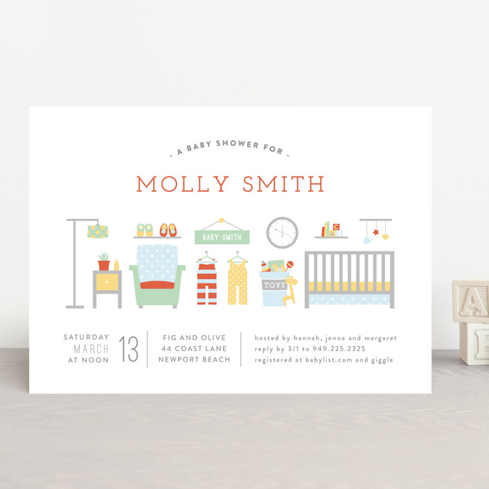 """Little Nursery"" - Vintage Baby Shower Invitations in Carrot by Michelle Poe."