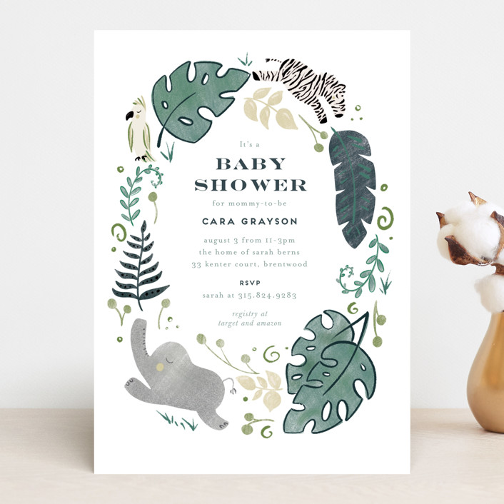 """On Safari"" - Baby Shower Invitations in Blush by Leah Bisch."