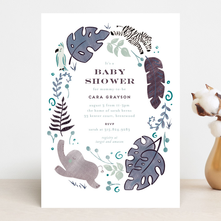 """""""On Safari"""" - Baby Shower Invitations in Blush by Leah Bisch."""