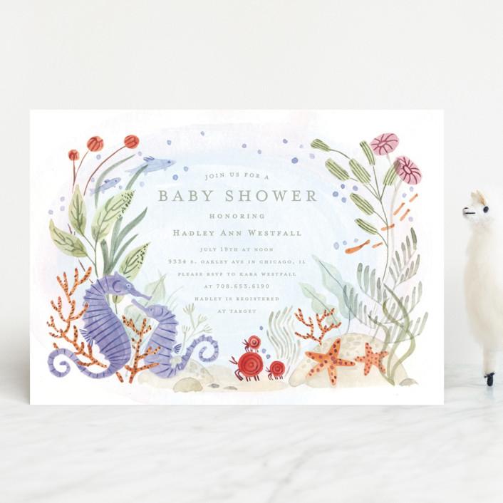 """""""Sea Floor"""" - Baby Shower Invitations in Seaweed by Morgan Ramberg."""