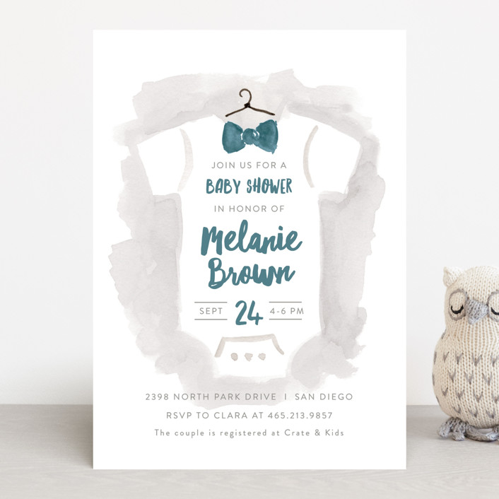 """Bow Tie Baby"" - Baby Shower Invitations in Deep Sea by JeAnna Casper."