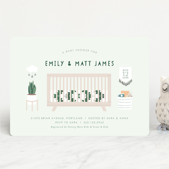 """Boho Nursery"" - Baby Shower Invitations in Mint by Itsy Belle Studio."