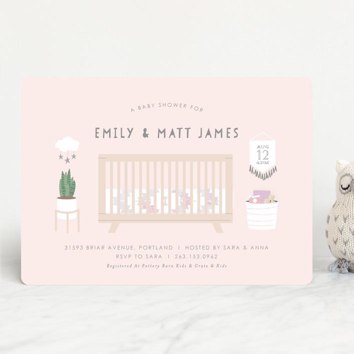"""Boho Nursery"" - Baby Shower Invitations in Mint by Itsy Belle Studio."