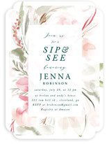 This is a pink baby shower invitation by Hannah Williams called floral sip and see with standard printing on signature in standard.