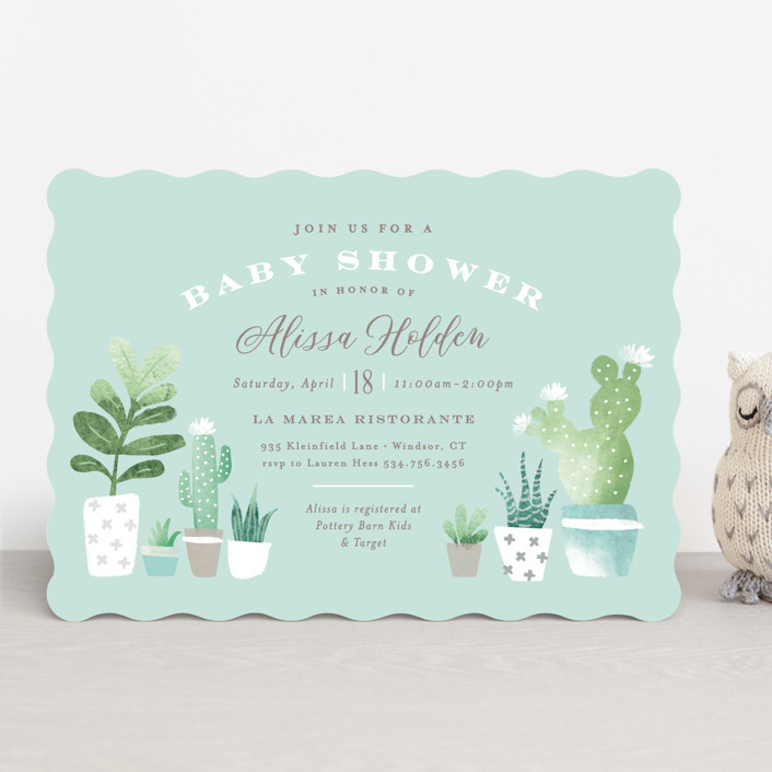 """""""Watercolor cactus"""" - Baby Shower Invitations in Blush by Jennifer Wick."""