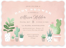 This is a pink baby shower invitation by Jennifer Wick called Watercolor cactus with standard printing on signature in standard.
