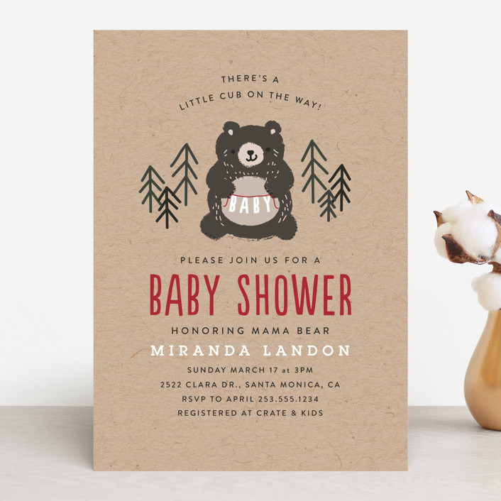 """""""Mama Bear"""" - Baby Shower Invitations in Evergreen by Itsy Belle Studio."""