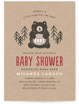 This is a red baby shower invitation by Itsy Belle Studio called Mama Bear with standard printing on signature in standard.