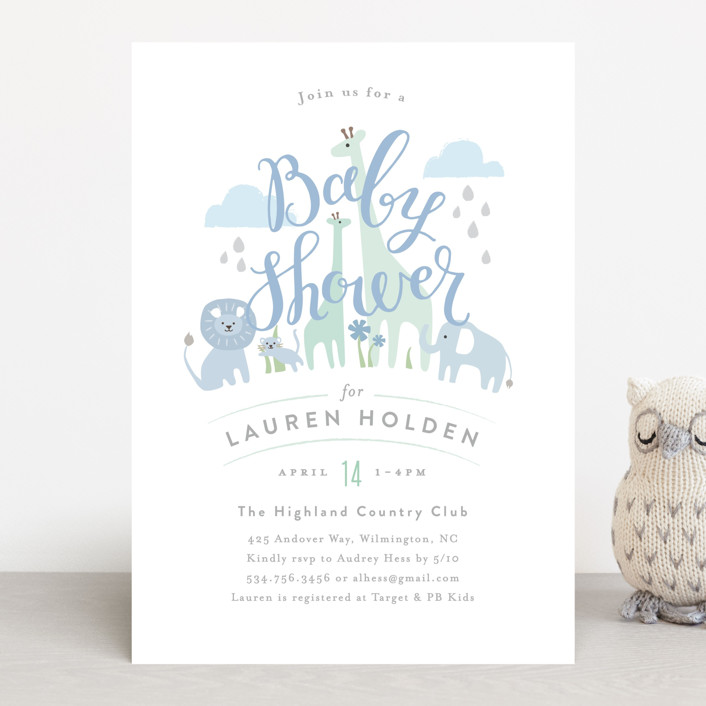 """""""Petite Jungle shower"""" - Baby Shower Invitations in Forest by Jennifer Wick."""