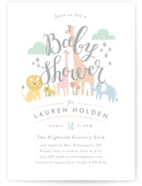This is a green baby shower invitation by Jennifer Wick called Petite Jungle shower with standard printing on signature in standard.