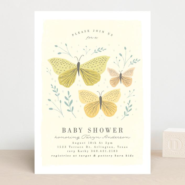 """""""Garden Butterflies"""" - Baby Shower Invitations in Petal by Karidy Walker."""