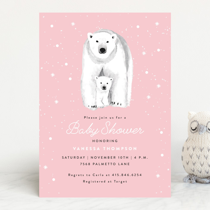 """Polar Bear"" - Baby Shower Invitations in Stone by Cass Loh."