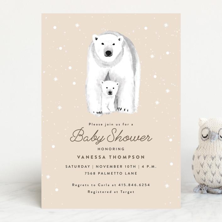 """Polar Bear"" - Baby Shower Invitations in Stone by Cass Loh."