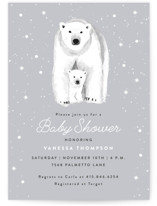 This is a grey baby shower invitation by Cass Loh called Polar Bear with standard printing on signature in standard.