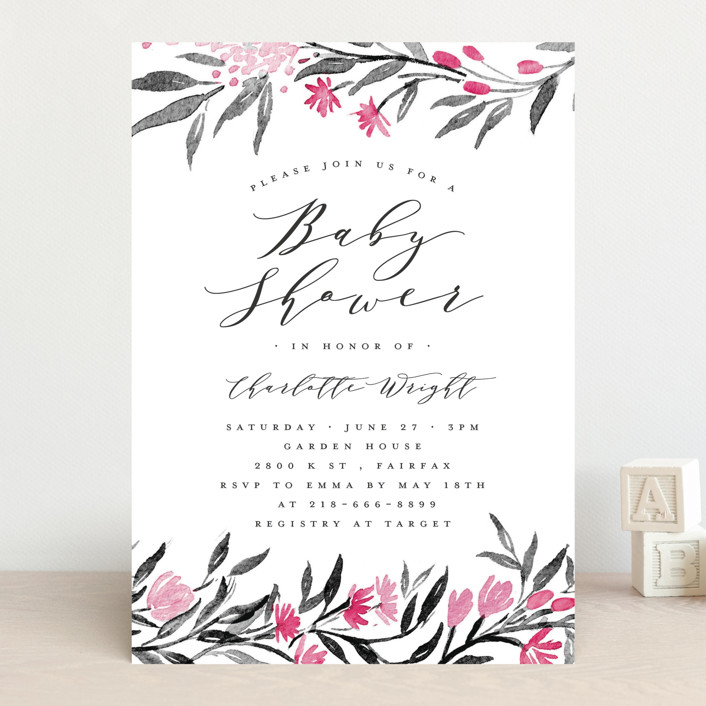 """Little Flowers"" - Baby Shower Invitations in Poinsettia by Qing Ji."