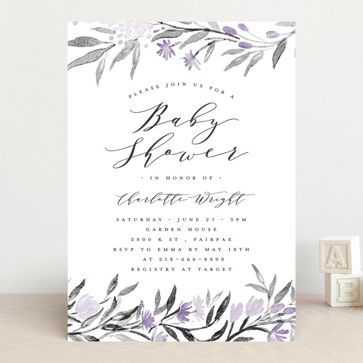 """""""Little Flowers"""" - Baby Shower Invitations in Poinsettia by Qing Ji."""