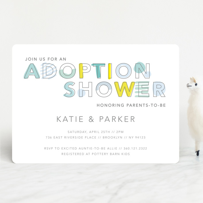 """""""An adoption shower"""" - Baby Shower Invitations in Majestic by Hudson Meet Rose."""