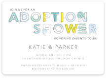 This is a blue baby shower invitation by Hudson Meet Rose called An adoption shower with standard printing on signature in standard.