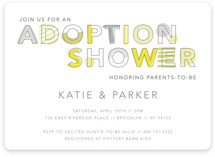 This is a grey baby shower invitation by Hudson Meet Rose called An adoption shower with standard printing on signature in standard.