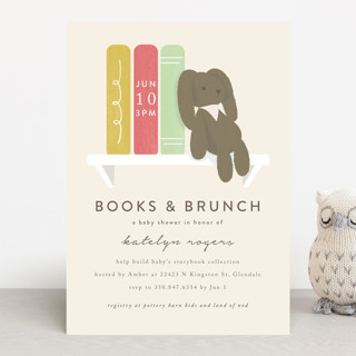bunny books and brunch Baby Shower Invitations
