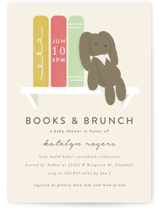 Bunny Books And Brunch Baby Shower Invitations By Angela Garrick