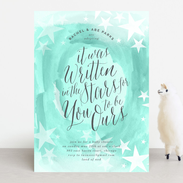 """You are Ours"" - Baby Shower Invitations in Seagreen by Baumbirdy."