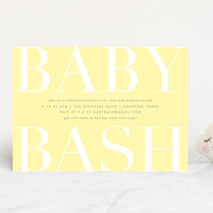 """Big Bash"" - Baby Shower Invitations in Blush by Lauren Chism."